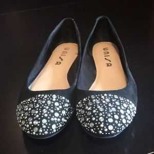 Unisa Black Flats with Silver Stud Detailing